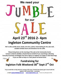 Jumble Sale in aid of Ingleton Folk Festival weekend in October @ Ingleborough Community Centre | Ingleton | United Kingdom