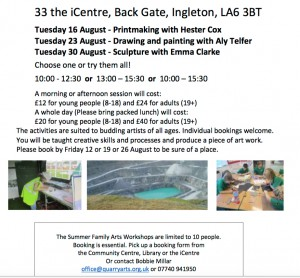 Quarry Arts Events for all ages (Sculpture) @ i-Centre | Ingleton | England | United Kingdom