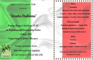Vera's Fund Supper Club - Italian Night @ Ingleborough Community Centre | Ingleton | England | United Kingdom