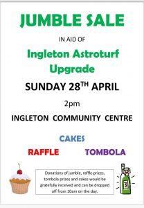 Jumble Sale in aid of Ingleton Multi Use Sports Astroturf Upgrade - a community facility @ Ingleborough Community Centre