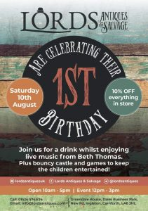 1st Birthday Party Open day @ Lord's Antiques and Salvage