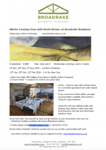Winter Evening Class with Kevin Brown (Watercolour Artist & Print maker) @ Broadrake
