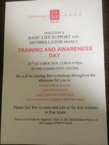 I Save a Life Awareness and Training Day with free workshops. @ Ingleborough Community Centre